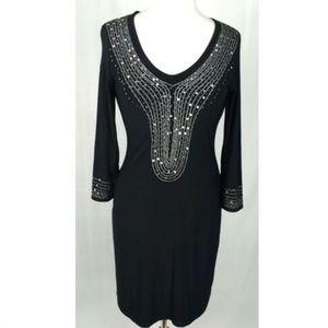 Joseph Ribkoff Dress Size 8 Black Sequined SAMPLE